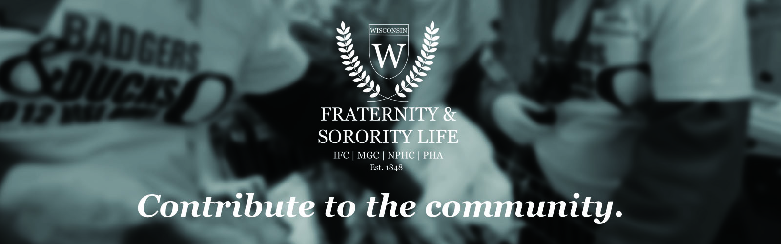 "black and white photo of hands putting items into bags with the Fraternity & Sorority Life logo and ""contribute to the community"" in the middle."